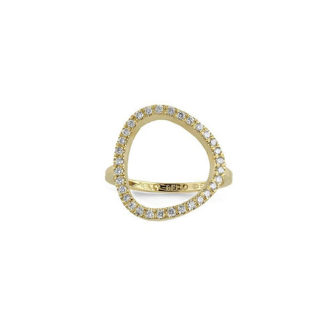 Mini Long Link Chain Ring with Diamond Bezel