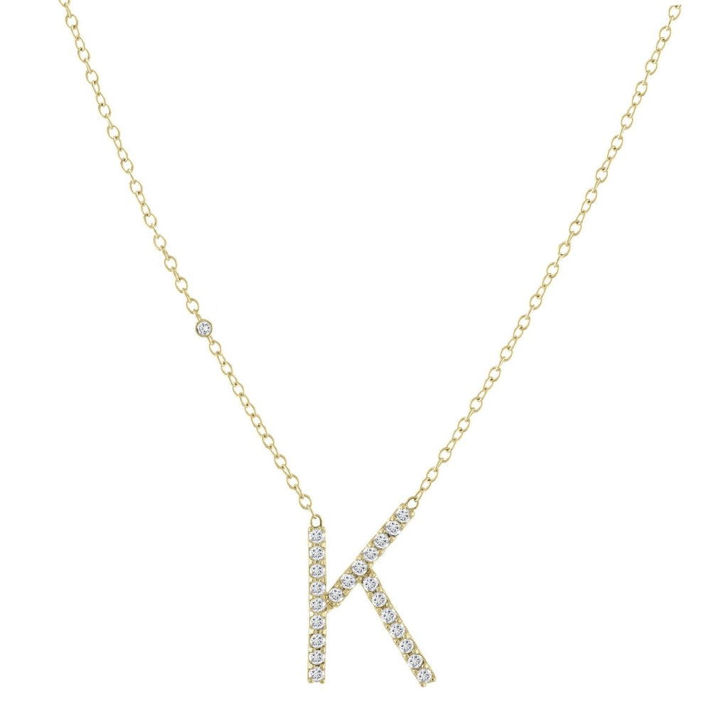 Signature Diamond Letter Necklace - Kelly Bello Design