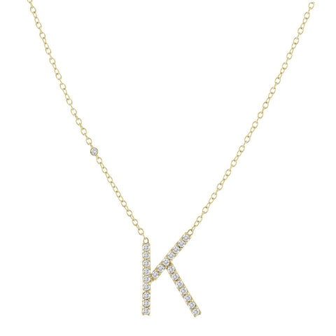 Translucent Pave Letter Necklace