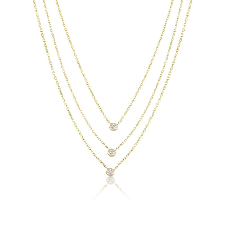 Triple Diamond Layer Necklace - Kelly Bello Design