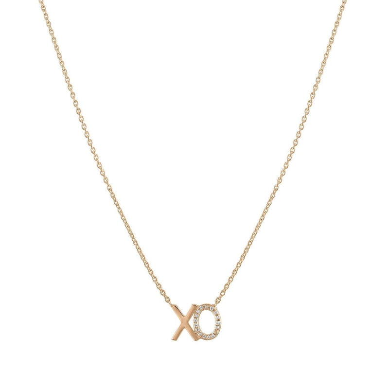 XO Diamond Accent Nameplate Necklace - Kelly Bello Design