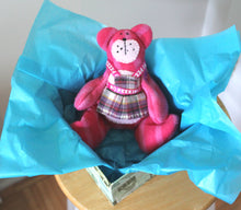 Pink fleece beanie teddy bear wearing an apron, Eco-friendly, collectible