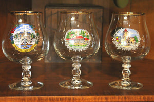 3 vintage German footed beer glasses,