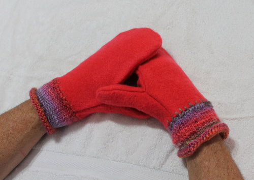 Pink/red felted wool sweater mittens,pink/green/purple handknitted wrists,women/teen/man gift,pink/red wool mittens,Eco-Friendly,