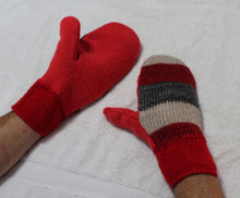 Red/grey felted wool sweater mittens,hand knitted wrists,red/grey wool mittens,red hand knitted wrists,Eco-Friendly,women,teen,man gift,Eco