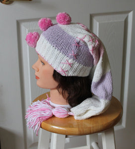 Long winter hat,pink/white winter hat,long winter tuque,sweater winter tuque,sweater winter hat,pink pompoms tuque,women,teen,eco friendly,