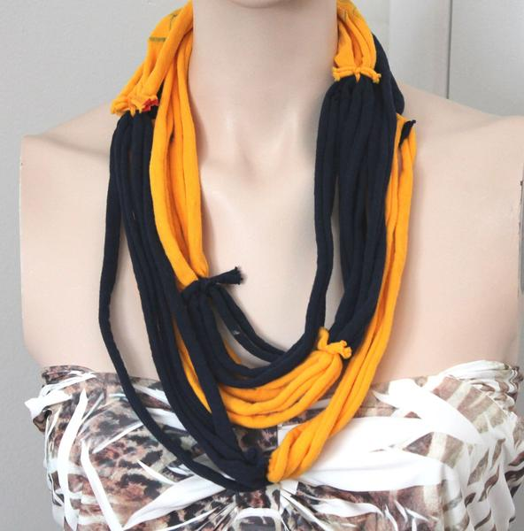 Yellow-blue multistrand necklace - Eco-Friendly gift