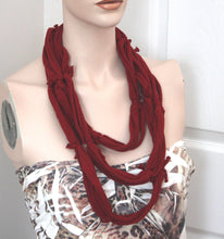 burgundy jersey t-shirt necklace,burgundy tshirt necklace,jersey tshirt neclace,burgundy multi strand necklaces,women,teen,eco-friendly
