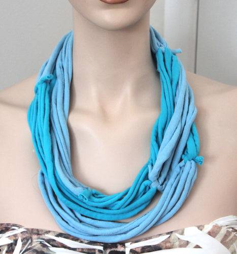 blue multi strand necklace,blue jersey t-shirt necklace,jersey multi-strand necklace,blue necklace,Eco-friendly necklace,women,teen,