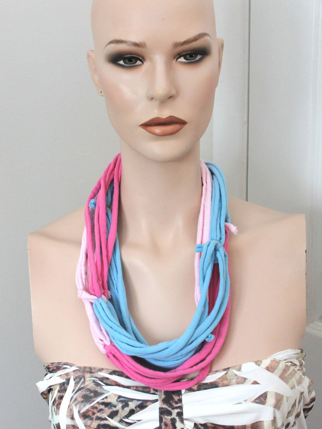pink/blue multi strand necklace,pink/blue jersey t-shirt necklace,jersey multi-strand necklace,pink/blue necklace,women,teen,unisex necklace