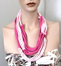 pink multi strand necklace,pink jersey t-shirt necklace,jersey multi-strand necklace,pink necklace,Eco-friendly necklace,women,teen,