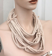 beige multi strand necklace,beige jersey t-shirt necklace,jersey multi-strand necklace,beige necklace,Eco-friendly necklace,women,teen,