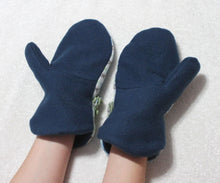 blue harlequin handmade fleece mittens,navy blue lined fleece mittens,winter mittens,winter fleece mittens,women,teens,small,Eco-Friendly