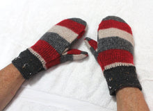 Red/grey felted wool sweater mittens,brown handknitted wrists,red/grey wool mittens,women/teen/man gift,Eco-Friendly,