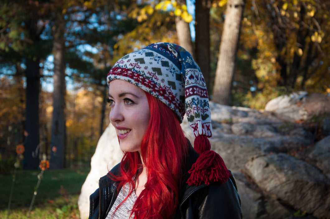 Long winter hat,red/cream/blue winter hat,long winter tuque,sweater tuque,women,men,teen,unisex winter hat,Eco-friendly,long tuque