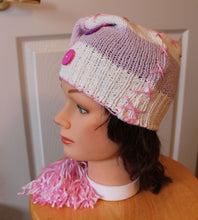 Long winter hat,pink/white winter hat,long winter tuque,pink/purple buttons,sweater tuque,pink pompoms tuque,women,teen,eco friendly