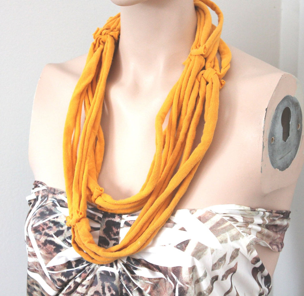 yellow multi strand necklace,yellow jersey t-shirt necklace,jersey multi-strand necklace,yellow necklace,Eco-friendly necklace,women,teen,