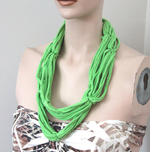green multistrand necklace,lime jersey t-shirt necklace,jersey tshirt necklace,jersey necklace,lime jersey necklace,women,teen,