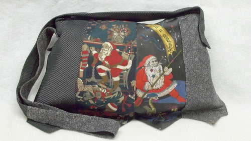 upcycled santa claus silk tie purse  red reclaimed ties eco friendly treasury item
