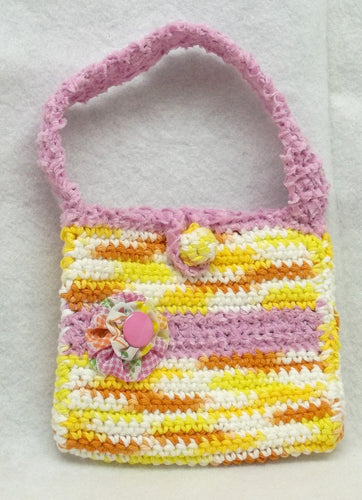 Crochet yellow purse,Crocheted yellow/pink purse,yoyo,handmade child purse,crochet child purse,crochet yellow/pink child purse,crochet purse