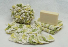 green Crochet Spa bath set,bath puff,eye make up remover pads,facecloth,soap saver,cotton yarn,eco friendly,gift,housewarming present