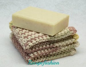 2 Beige Dishcloths/facecloths,crocheted knitted beige facecloths,beige dishcloths,beige facecloths,dishcloths