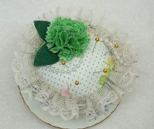 vintage flower teacup pincushion,hand painted flower teacup pincushion,teacup pincushion,floral teacup pincushion,green flower pincushion