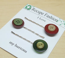 Vintage green burgundy yellow button bobby pin/hair pin,green/burgundy/yellow hair pins/bobby pin,hair pins,bobby pins,burgundy bobby pins