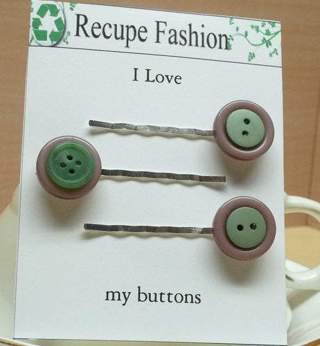 Vintage mauve/green button bobby pin/hair pin,05 ,hair fashion hair accessory,hair decoration,stocking stuffers,green/mauve hair accessory