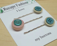 Vintage Teal/pink/beige  button hair pins,hair accessories,button bobby pins,button hair pins,