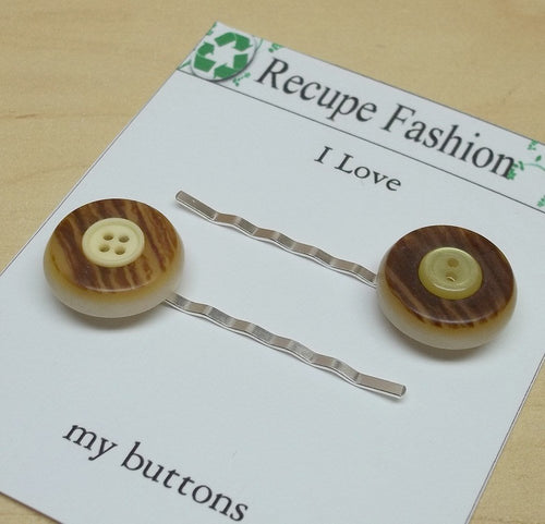 Vintage brown soft yellow button bobby pin,09,brown/yellow hair accessory,bobby pins,brown/yellow hair pins,brown,yellow,yellow bobby pins,