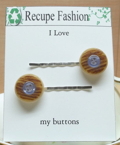 Vintage brown/blue button hair pins,hair accessories,button bobby pins,button hair pins,