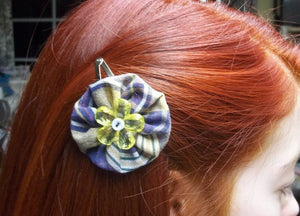 blue/yellow blue flower hair clip,blue/yellow hair pin,yoyo hair clip,hair clip,hair pin,hair accessory,Eco-friendly,upcycled