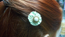 green/white faux pearl yoyo hair bobby pin,green hair bobby pin,hair bobby pin,green yoyo bobby pin,white faux pearl button hair bobby pin