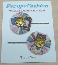 pink/blue cotton flower hair bobby pins with gold button center,hair pins,hair accessories