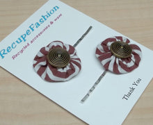Striped white/burgundy cotton flower hair bobby pins with button center,hair pins,hair accessory