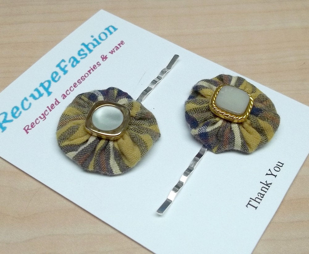 yellow/blue plaid cotton flower hair bobby pins with pearl button center