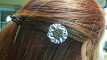 Striped white/blue cotton flower hair bobby pins with button center,hair pins,hair accessory