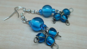blue triple beaded earrings,blue glass beaded earrings,blue beaded earrings,blue glass bead earrings,blue earrings,