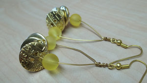 Gold Button/yellow glass bead Earrings,gold button earrings, yellow glass bead earrings,yellow bead earrings,yellow earrings,yellow