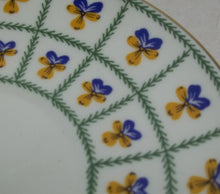 Vintage Blue/Yellow Pansies teacup plate,Hand Decorated 1744 St Peters burg Russia,blue/yellow pansies tea cup plate,pansies tea cup plate