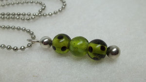 Green glass bead silver beaded bar necklace