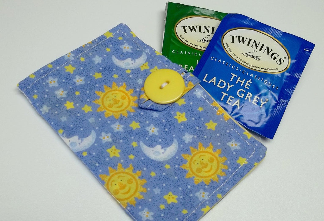 blue cotton moon tea wallet,eco friendly,tea/condom teawallet,tea wallet,tea bag holder,tea bag caddy,travel teabag,gift,eco-friendly