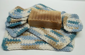 turquoise crocheted facescrubs and eye pad make up removers,turquoise crocheted facescrubbies,turquoise facescrubs,eye pad makeup removers