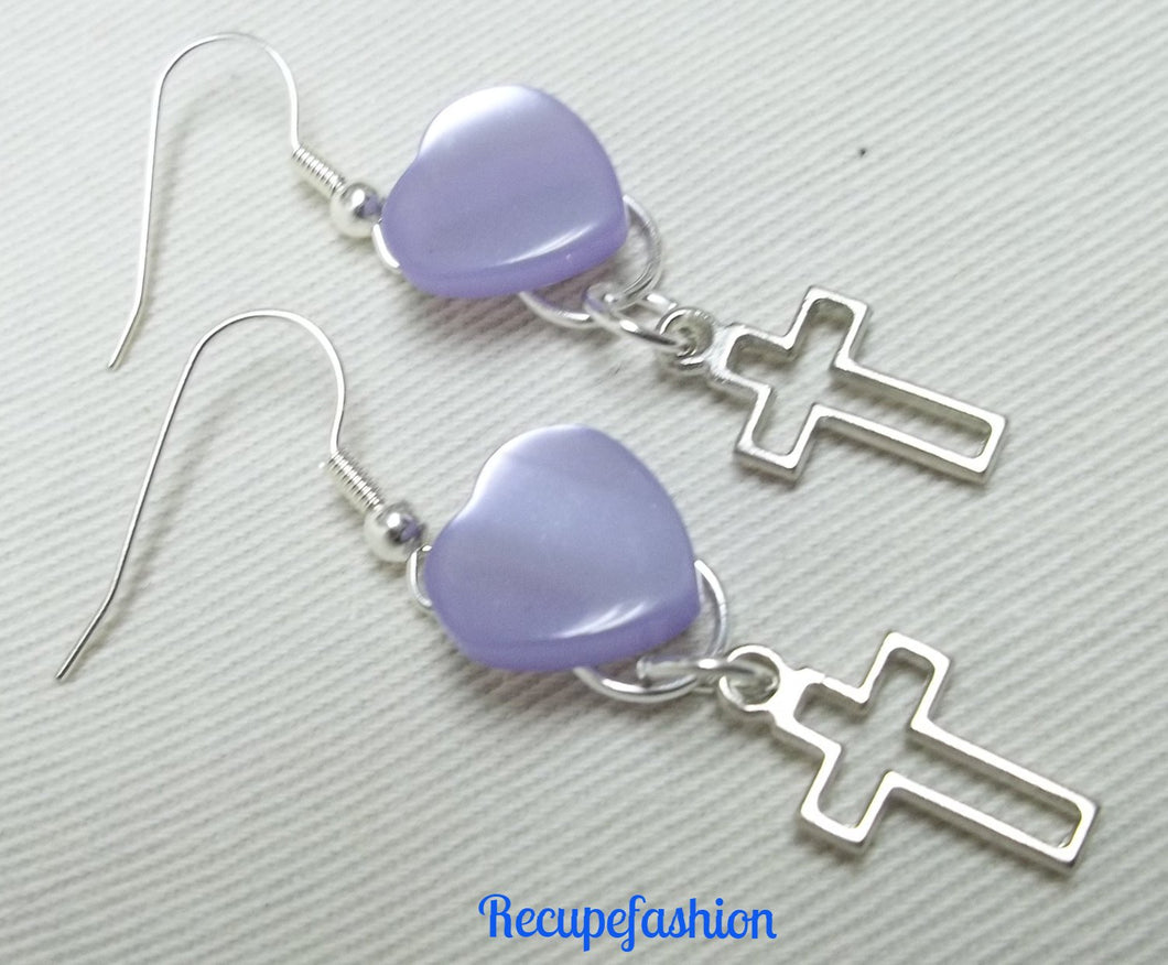 Lilac heart button earrings,silver cross charm,silver cross button earrings,button,lilac button earrings,heart button earrings,lilac heart