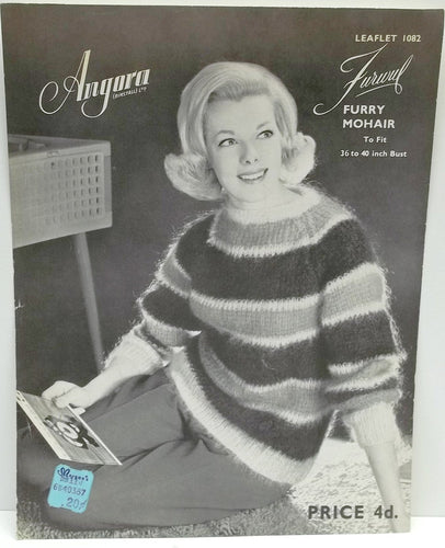 Vintage Angora woman knitting pattern,woman sweater,Furwul sweater knitting pattern,original leaflet no 1082,knitting pattern,women pattern