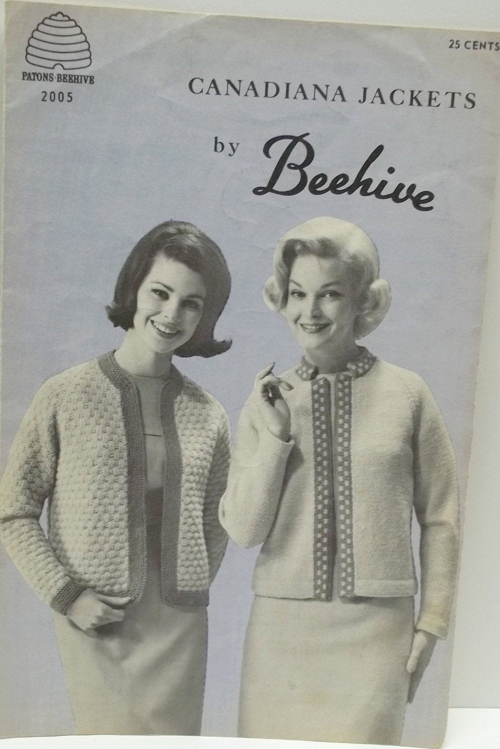 vintage knitting pattern,Canadiana Jackets pattern,woman jacket knitting pattern,Beehive-Patons no 2005 adult size 14 to 20,no 2005