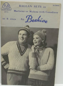 Vintage Men/Women/Teen knitting pattern,raglan V-neck sweater/toque knitting pattern by Beehive Patons no 2015, sizes 12,14, 16, 38, 40, 42