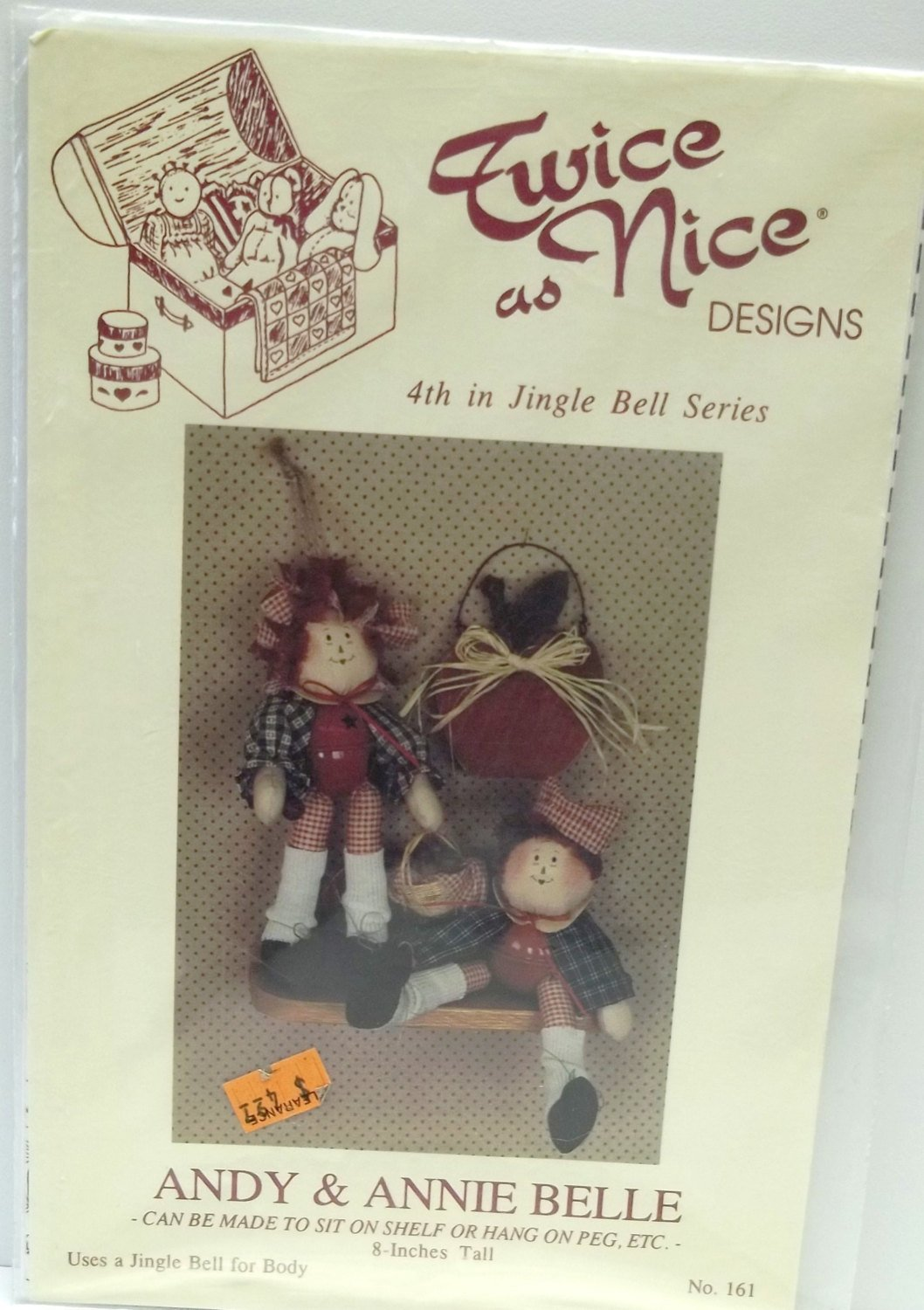 vintage dolls sewing pattern jingle bell series,vintage cloth dolls,cloth doll set,twice as nice design,no 161,Andy and Annie Belle dolls,,