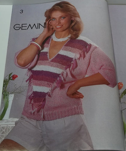 Vintage women sweater tops knitting pattern by Fashion Knitting magazine no 18